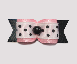 "#2055 - 5/8"" Dog Bow - Cute Baby Pink on Black, Tiny Black Dots"