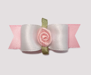"#2058 - 5/8"" Dog Bow - Simple Sweet White & Baby Pink, Rosette"