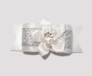 "#2062 - 5/8"" Dog Bow- Gorgeous Snow White & Silver, Gem Florette"