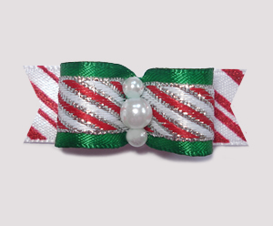 "#2065 - 5/8"" Dog Bow - Sweet Candy Cane Stripe with Green Satin"