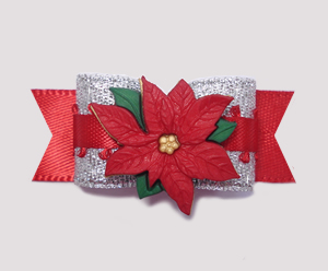"#2066 - 5/8"" Dog Bow - Beautiful Sparkly Silver & Red Poinsettia"