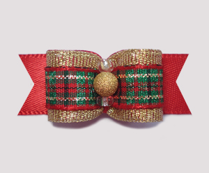 "#2067 - 5/8"" Dog Bow - Gorgeous Holiday Plaid, Gold Stardust"