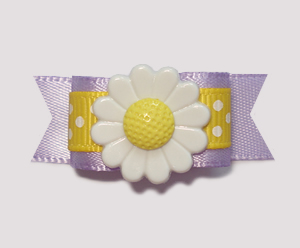 "#2068 - 5/8"" Dog Bow - Daisy Delight, Daffodil Yellow & Lavender"