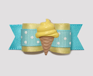 "#2078 - 5/8"" Dog Bow - Baby Yellow/Blue, Lemon Ice Cream Cone"