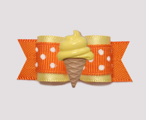 "#2079 - 5/8"" Dog Bow - Baby Yellow/Orange, Lemon Ice Cream Cone"