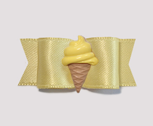 "#2080 - 5/8"" Dog Bow - Satin, Baby Yellow, Lemon Ice Cream Cone"