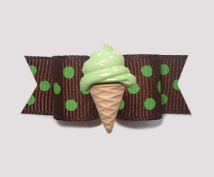 "#2083 - 5/8"" Dog Bow - Sweet Chocolate & Lime, Mint Ice Cream"