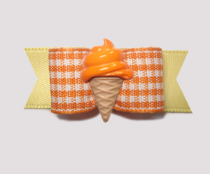 "#2085 - 5/8"" Dog Bow - Yummy Gingham, Orange Ice Cream Cone"