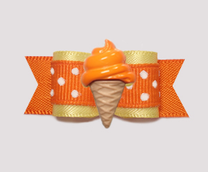"#2086 - 5/8"" Dog Bow - Baby Yellow/Orange, Orange Ice Cream Cone"