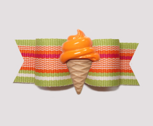 "#2087 - 5/8"" Dog Bow - Citrus Stripes, Orange Ice Cream Cone"