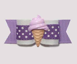 "#2089 - 5/8"" Dog Bow - Purple & White Dots, Grape Ice Cream Cone"