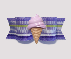 "#2091 - 5/8"" Dog Bow - Purple Stripes, Grape Ice Cream Cone"