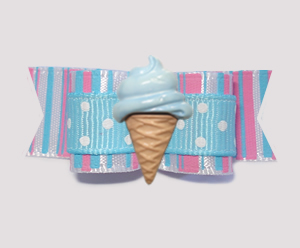 "#2093 - 5/8"" Dog Bow - Sweet Cotton Candy, Blue Ice Cream Cone"