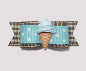 "#2094 - 5/8"" Dog Bow - Spring Picnic, Blue Ice Cream Cone"