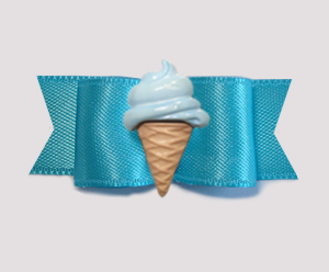 "#2096 - 5/8"" Dog Bow - Electric Blue Satin, Blue Ice Cream Cone"
