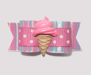 "#2097 - 5/8"" Dog Bow - Sweet Cotton Candy, Pink Ice Cream Cone"