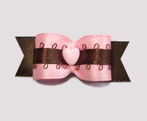 "#2107 - 5/8"" Dog Bow - Strawberry & Chocolate Love"