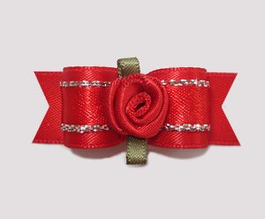 "#2109 - 5/8"" Dog Bow - Gorgeous Red Satin with Sparkle, Rosette"