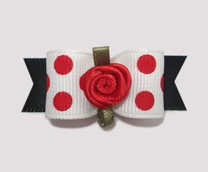 "#2112 - 5/8"" Dog Bow - Adorable Red/White Dots w/Black, Rosette"