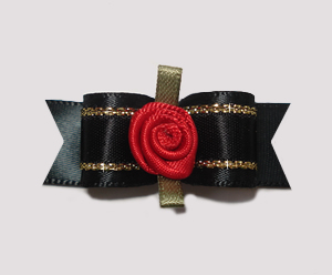 "#2113 - 5/8"" Dog Bow - Gorgeous Black & Gold Satin, Red Rosette"