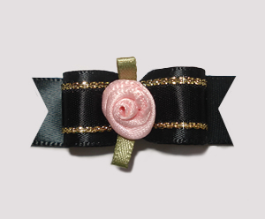 "#2114 - 5/8"" Dog Bow - Gorgeous Black & Gold Satin, Pink Rosette"