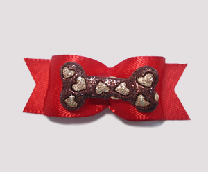"#2122 - 5/8"" Dog Bow - Bling Bone, Rich Red, Brown w/Gold Hearts"