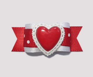 "#2123 - 5/8"" Dog Bow - Lovely Love Heart with Lacey Surround"