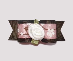 "#2127 - 5/8"" Dog Bow - Sweet Spring Apple Blossoms, Pink/Brown"