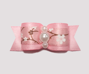 "#2128 - 5/8"" Dog Bow - Sweet Spring Apple Blossoms, Pink"