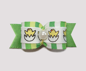 "#2132 - 5/8"" Dog Bow - Spring Baby Chicks, Fresh Stripes"