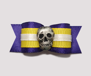 "#2133 - 5/8"" Dog Bow - Unique Skull, Purple & Yellow"