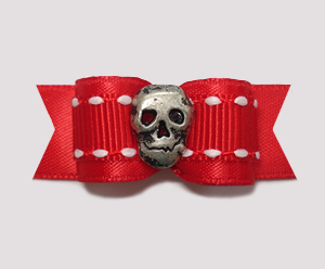 "#2134 - 5/8"" Dog Bow - Unique Skull, Classic Red & White Stitch"