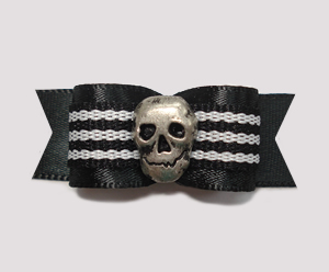 "#2135 - 5/8"" Dog Bow - Unique Skull, Cool Black Satin"