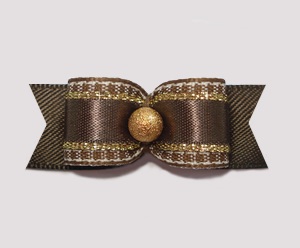 "#2145 - 5/8"" Dog Bow - Classic Brown with Stardust Gold"