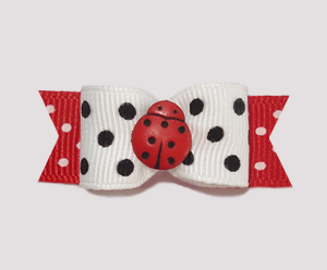 "#2146 - 5/8"" Dog Bow - Classic and Fun Ladybug"