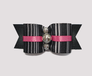 "#2147 - 5/8"" Dog Bow - Cool Stripes with Sassy Hot Pink Accent"