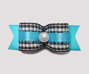"#2152- 5/8"" Dog Bow- Adorable Classic B/W Gingham, Electric Blue"
