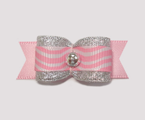 "#2154 - 5/8"" Dog Bow - Diva Party Pink & Silver. Fancy & Fun!"