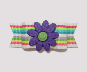 "#2162 - 5/8"" Dog Bow - Bright Stripes, Purple Flower"