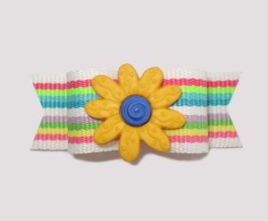 "#2163 - 5/8"" Dog Bow - Bright Stripes, Yellow Flower"