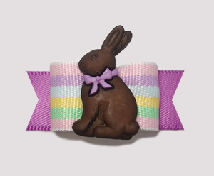 "#2165 - 5/8"" Dog Bow - Yummy Chocolate Bunny, Pastel Stripes"