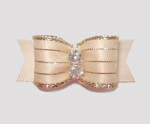 "#2175 - 5/8"" Dog Bow - Razzle Dazzle, Rich Cream"