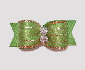 "#2180 - 5/8"" Dog Bow - Razzle Dazzle, Apple Green"