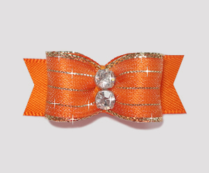 "#2183 - 5/8"" Dog Bow - Razzle Dazzle, Sunset Orange"