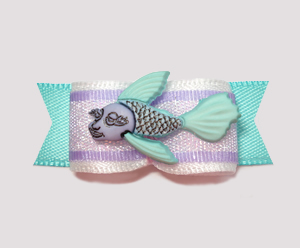 "#2199 - 5/8"" Dog Bow - Tropical Fish, Aqua & Lavender Sparkle"