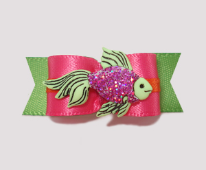 "#2202 - 5/8"" Dog Bow - Sparkly Fish, Hot Pink/Summer Green"