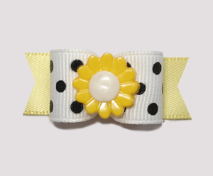 "#2207 - 5/8"" Dog Bow - Adorable Black & White with Yellow Flower"