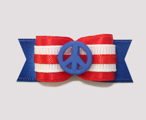 "#2208 - 5/8"" Dog Bow - Red, White & Blue, Peace"