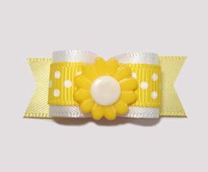 "#2212 - 5/8"" Dog Bow - Sweet Yellow/White Dots, Yellow Flower"
