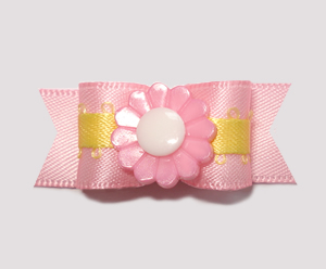 "#2214 - 5/8"" Dog Bow- Sweet Pink Satin with Yellow, Pink Flower"